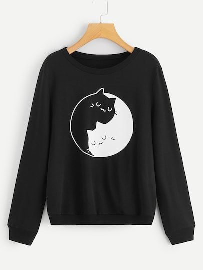 1Plus1 Girls Cat Print Pullover Sweater AD